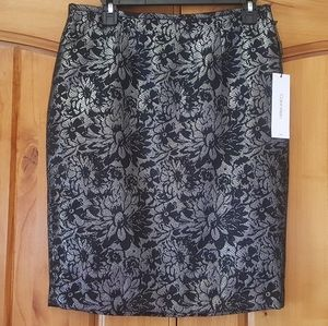Calvin Klein Floral Silver Metallic Skirt Size 6